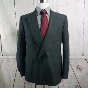 Evan Picone Double Breasted Dk Gray Suit Blazer Sp